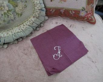 Vintage Hankie Burgundy Purple Embroidered Monogram Letter F