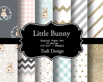 Little Bunny Digital Paper Set  I N S T A N T • D O W N L O A D easter birthday scarpbook papers