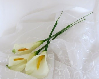White Calla Lilies, Artificial Calla Lily ,3 Flowers with Stems, Weddings, Wreaths, Floral Arrangements