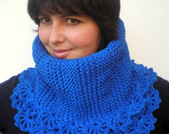 Roya   Blue Flower Cowl Super Soft  Baby Merino Neckwarmer Woman Cowl NEW