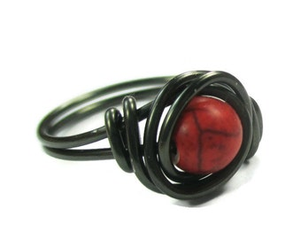 gothic Jewelry - Wire Wrapped Rings - Red Jewelry - Gunmetal Ring - Gemstone Jewelry - Gotic Ring
