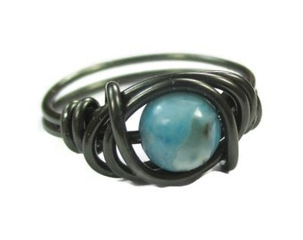 Boho Rings - Turquoise Jasper and Gunmetal Wire Wrapped Ring