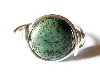 Boho Jewelry -  Green Turquoise Ring, Wire Wrapped Silver Ring - Bohemian Rings