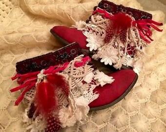 Women Western Bohemian Boho Tribal Gipsy Cowboy Urban Boots New Size 7 1/2