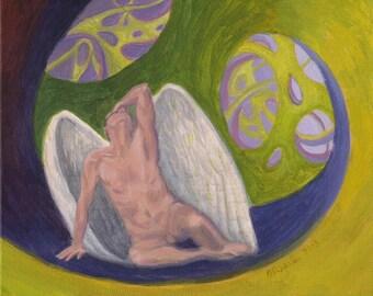 Angelhood - Original Surreal Painting 8x10 male nude angel