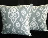 Throw Pillows, Pillow Covers, Decorative Pillows, 18 Inch Pillows, Home Decor - Grey and White Ikat