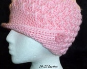 Women's Peaked Crochet Cap, Canadiana Hat, Pink Crochet Hat, Brimmed Beanie -  Baby Pink with Pink Flower Buttons