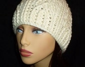 Ivory Crocheted Cable Hat, Ladies Winter Beanie, Women's Fall Cloche - Size Medium