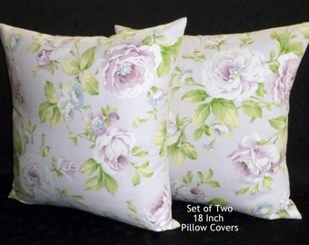 Throw Pillows, Decorative Pillows, Accent Pillows, Pillow Covers - Two 18 Inch Lavender Rose