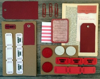 RED Vintage and New Scrap Paper Pack Collage Altered Art Scrapbooking Dictionary Ephemera
