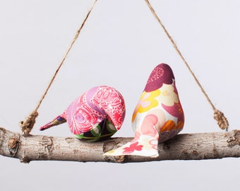 Love Birds - Bird Swing, Bird Mobile in Pinks and Purples
