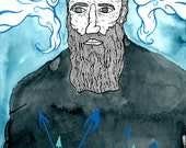 Mixed media portrait of Herman Melville