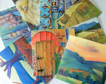 fine art, greeting cards, variety pack, landscape, animal, buildings, any occasion art, red blue green, yellow orange, trees and fields, set