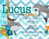 Dolphin Party Invitation Photo Birthday Party Printable Blue Turquoise Orange Chevron Polka Dot Fish Hibiscus flower summer Luau party
