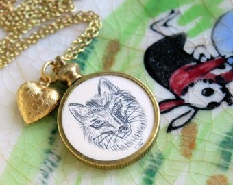Fox Face Necklace Cute Vintage Faux Scrimshaw Fob Pendant - Gift Idea For Her - Cameo Necklace