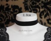 "Lolita Gorgeous BLACK Velvet 2CM Ribbon Choker Necklace Vampire Queen Costume Party - adjustable length 12.6"" - 15""   (NV003)"