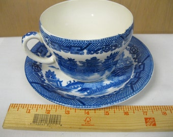 HUGE Blue Willow Cup and Saucer - Soup Bowl or Lots of Coffee Unique and Unusual Estate Find For Collection or Decor or DIY Crafting Project