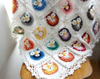 DIGITAL CROCHET pattern Owl Crochet,Baby Blanket,photo tutorial,crochet owl pattern,crochet owl,baby blanket,afghan,heirloom