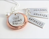 Serenity Prayer Necklace with Date in Sterling Silver & Copper | Personalized Hand Made Serenity Jewelry