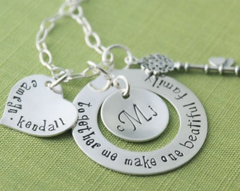 Together We Make One BEAUTIFUL Family Necklace | Custom Sterling Silver Heart Charm with 2 Names & Fancy Key Charm