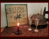 Primitive Colonial Framed Black Horse Tavern Sign