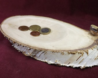 """Wooden rustic birch tree slice 9"""" x 4""""  handmade. Avaliable persolalized, millnig or burning ant text."""