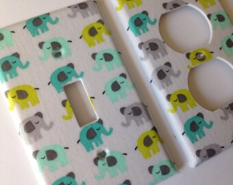 Elephant Light Switch Plate / Elephant Nursery Decor / Gray and Turquoise Decor / Green Elephant Decor / Elephant Nursery Decor / Aqua Decor
