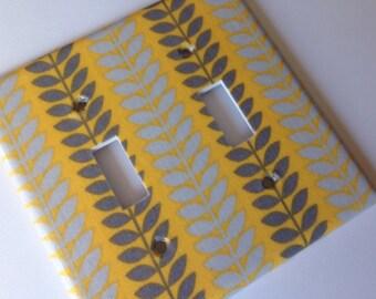 Yellow Gray Decor / Yellow and Gray Double Light Switch Cover/ Yellow and Grey Decor / Yellow and Gray Nursery / Yellow Bathroom Decor