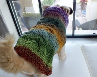 Dog Coat Hand Knit  Double Cable Small 12 inches long Noro Merino Wool