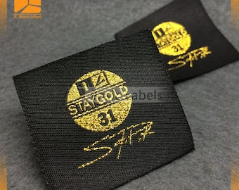 300 gold metallic, gold foil, woven labels, lurex labels, gold logo clothing labels