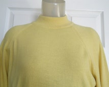 Men's Vintage 1960s Yellow Orlon Sweater - Long Sleeves - Sexy Mock Turtleneck