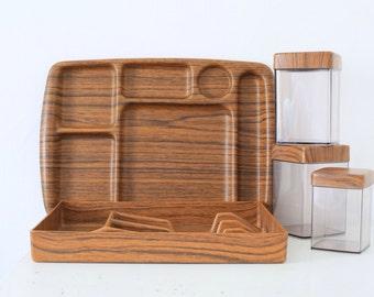 Retro Caleppio faux teak kitchen set trays containers Italian 60s 70s