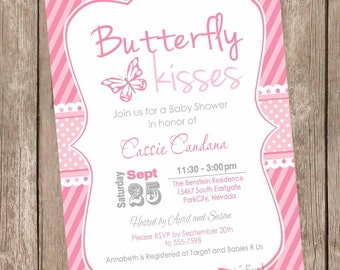 Butterfly kisses baby shower invitation, butterfly baby shower invitations, pink and white, chevron, printable invitation,