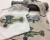 Baby Boy Gift Set, Vintage Airplanes, Bib, Burp Cloth, Blue, Green, Grey, Helicopters, Minky Dot, Appliqued Bodysuit