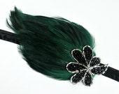 Flapper Style 1920s Headpiece, Gatsby Headband, Green OR Black Feather Headband, Roaring 20s Beaded Headband