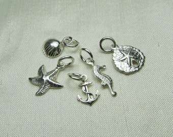 Small Beach Charm - Add Charm to MesmericJewelry Necklace or Bracelet - Sterling Silver Charm