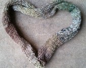 Scarf, Handknit Twisted and Garter Stitch  ~ Brown, White, Green, Yellow Silk and Cotton Yarn ~ Warm, Great for All Seasons - One of a Kind