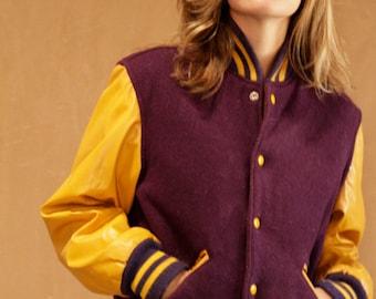 women's LETTERMAN jacket vintage 50s 60s MAROON & yellow letterman's coat