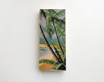 """Paint by Number Large   6"""" x 14"""" Art Block 'Tropical Beach' - palm trees, vintage art, tiki"""