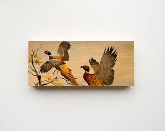 """Paint by Number Large  6"""" x 14"""" Art Block 'Pheasant Pair' - hunting, fall color, vintage landscape"""