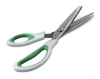 Green Professional Dressmaking Pinking Shears Crafts Zig Zag Cut Scissors Shear
