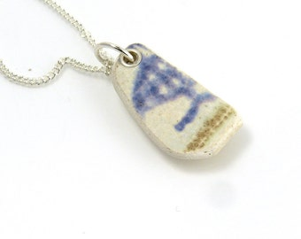 White, Purple and Gold Beach Pottery Necklace MIKA