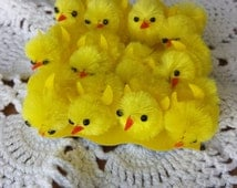 Chenaille Yellow Chicks, 12 Little Fuzzy Chicks, 1 Inch Craft Chicks