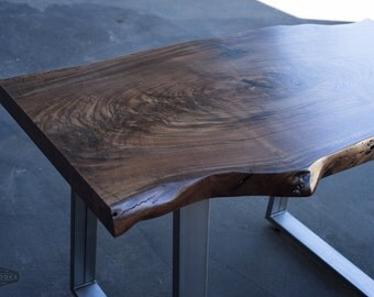 Live Edge Walnut Desk, Steel Trapezoid Legs, Custom