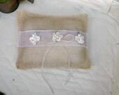 Burlap and Lace Ring Bearer Pillow Wedding Pillow  Country Wedding Rustic Wedding Ring Bearer
