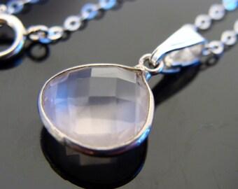 Rose Quartz Bezel Set Sterling Silver Pendant