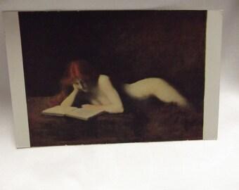 JJ Henner - The Reader - La Liseuse - Vintage Postcard