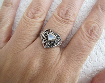 Mother of Pearl Sterling Silver Heart Marcasite Ring, Size 6