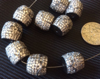 Pave Zircon Bead , 8-10 mm Genuine-sterling silver and zircon Beads