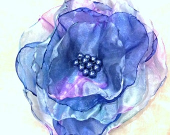 Cool blues organza flower brooch pin/ hair clip